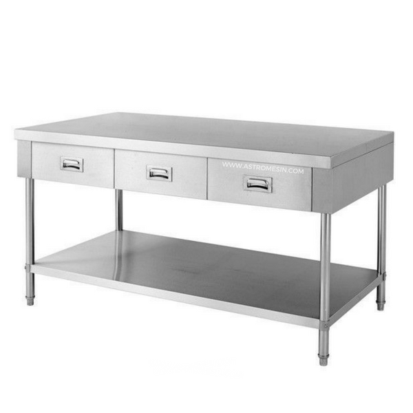 Meja Stainless Steel Working Table With Drawer